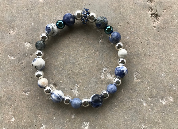 Sodalite, Blue Hematite and Metal with Crystal Spacer