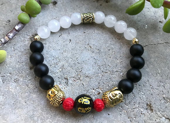 Onyx and Snow Quartz, Chinese Symbol and Cinnabar Buddha Spacers Bracelet