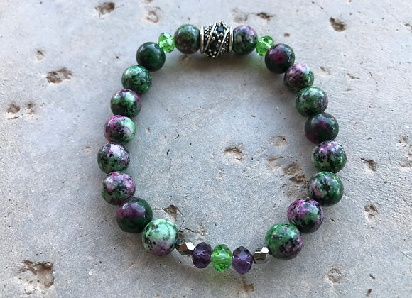 Ruby in Zoisite and Crystal Glass Bracelet