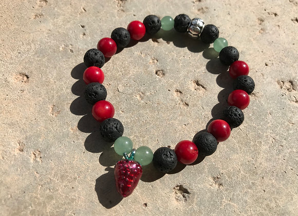Red Coral (Dyed), Adventurine and Lava Stone Lacquered Strawberry Charm Bracelet