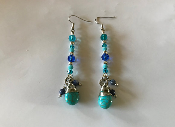 Wire wrapped Magnesite Drop with Crystal Glass Earrings