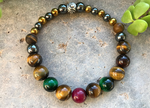 Multi-Colored Tigereye with Multi-Colored Hematite Bracelet