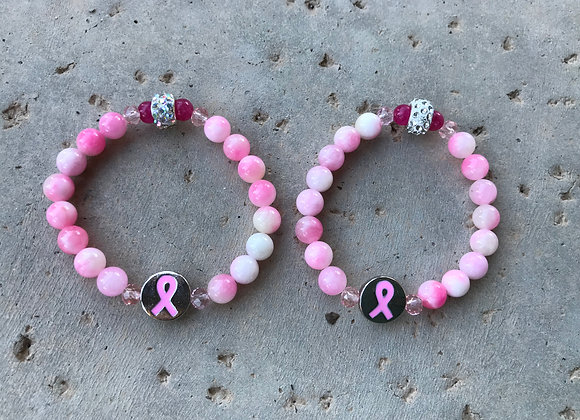 Pink Chalcedony and Crystal Glass Breast Cancer Awarness Bracelet