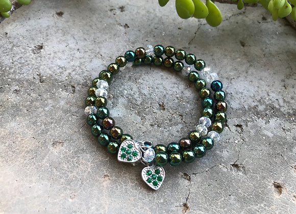 Glass Beads and Crystal with Two Hearts Bracelet- Green