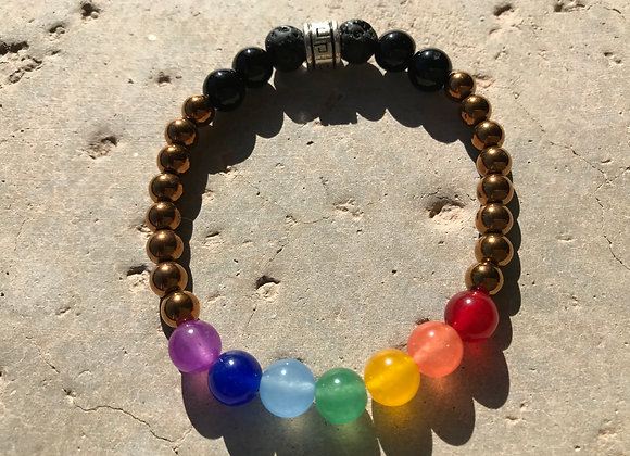 Multi Colored Jade, Bronze Hematite and Lava Stone Chakra/Pride Bracelet