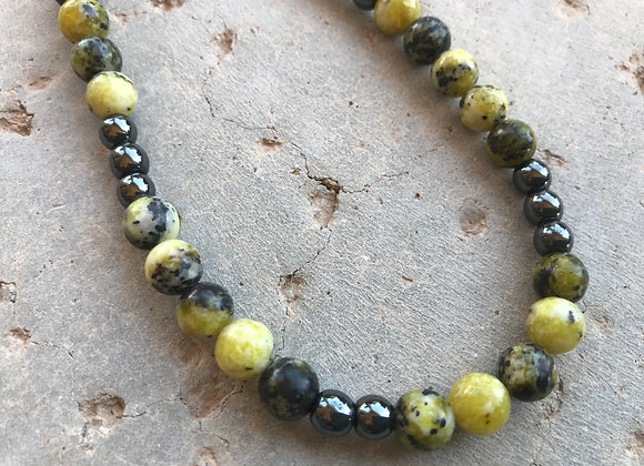 """20"""" Yellow Turquoise and Hematite Elastic Stretch Necklace"""