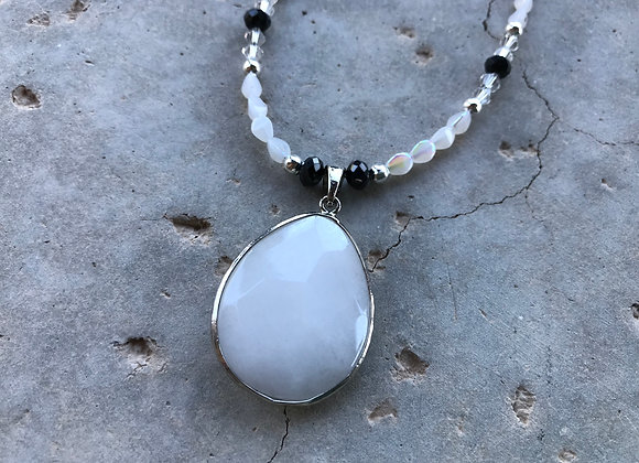 Moonstone Rice Beads and Crystal Glass with Snow Quartz Pendant
