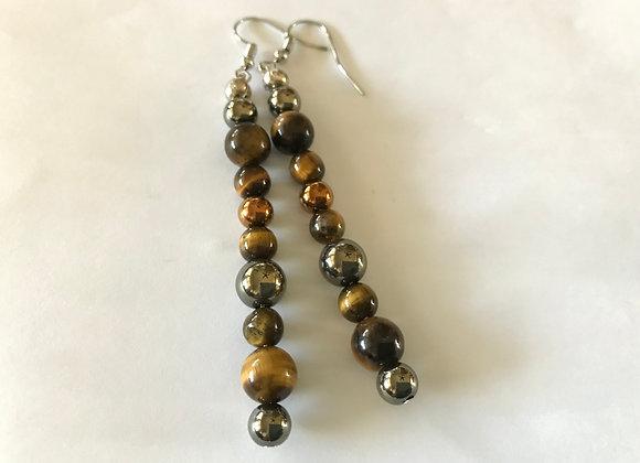 Tigereye and Hematite Long Drop Earrings