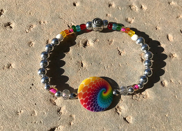 Metal and Colorful Seed Beads with Rainbow Swirl Focal Bracelet