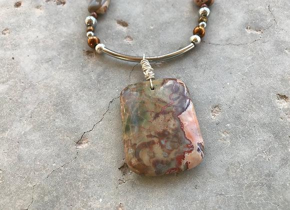 Safari Jasper, Hematite and Wood with Jasper Pendant Necklace