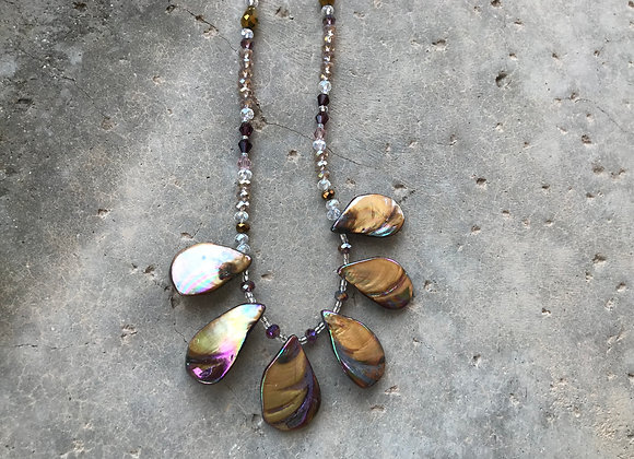 Mother of Pearl Shell (Dyed) and  Crystal Necklace - Two Styles