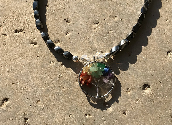 Colorful Jade, Tigereye, Hematite and Crystal with Tree of Life Pendant Necklace