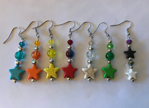 Magnesite and Crackle Glass Star Earrings