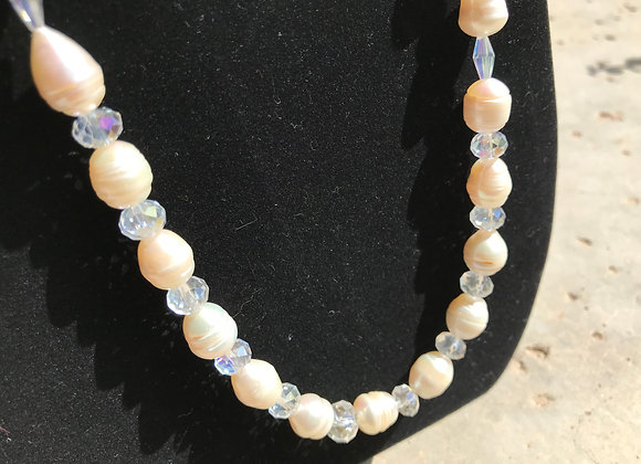 Freshwater Pearls and Crystal Glass Necklace