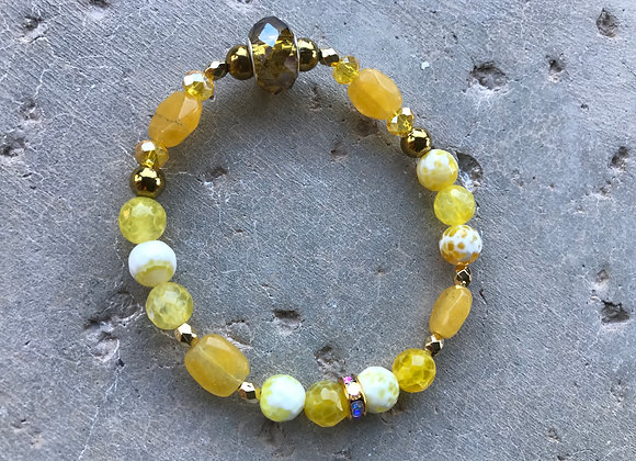 Faceted Yellow Fire Agate, Yellow Jade, Hematite with Metal Bracelet