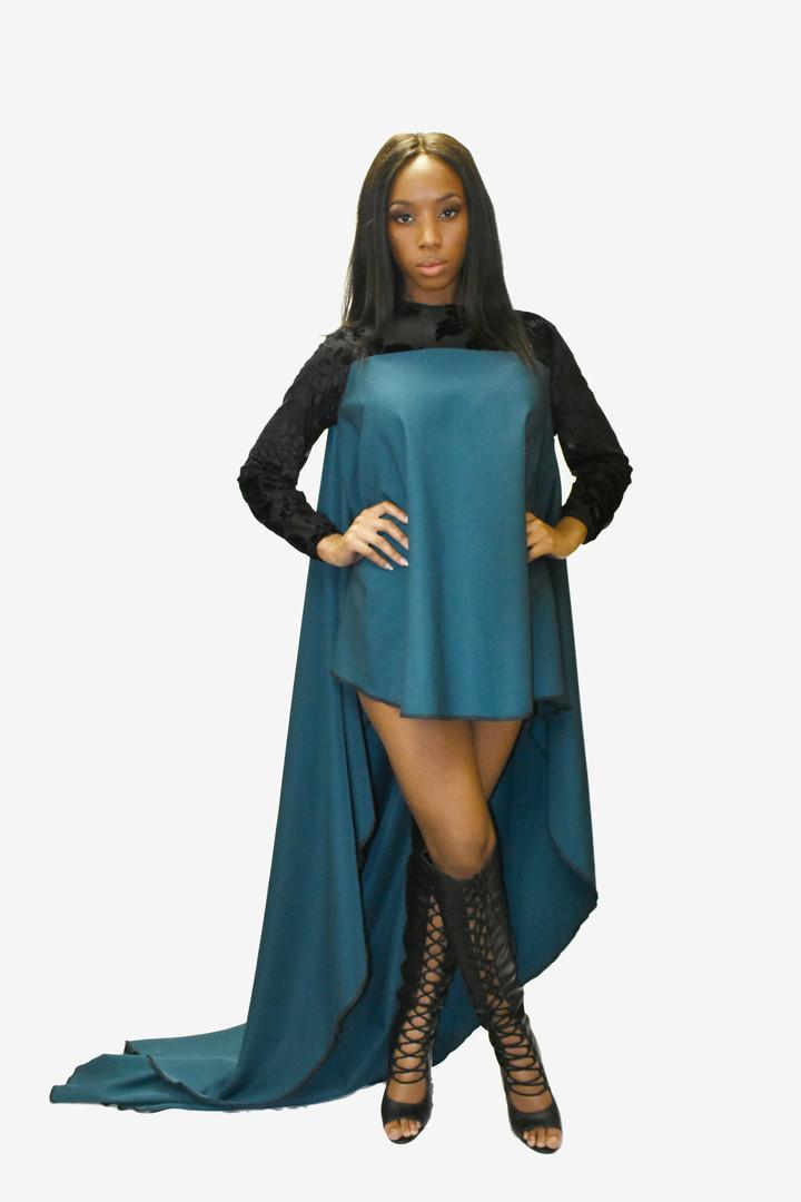 Hunter Green hi/lo trapeze dress