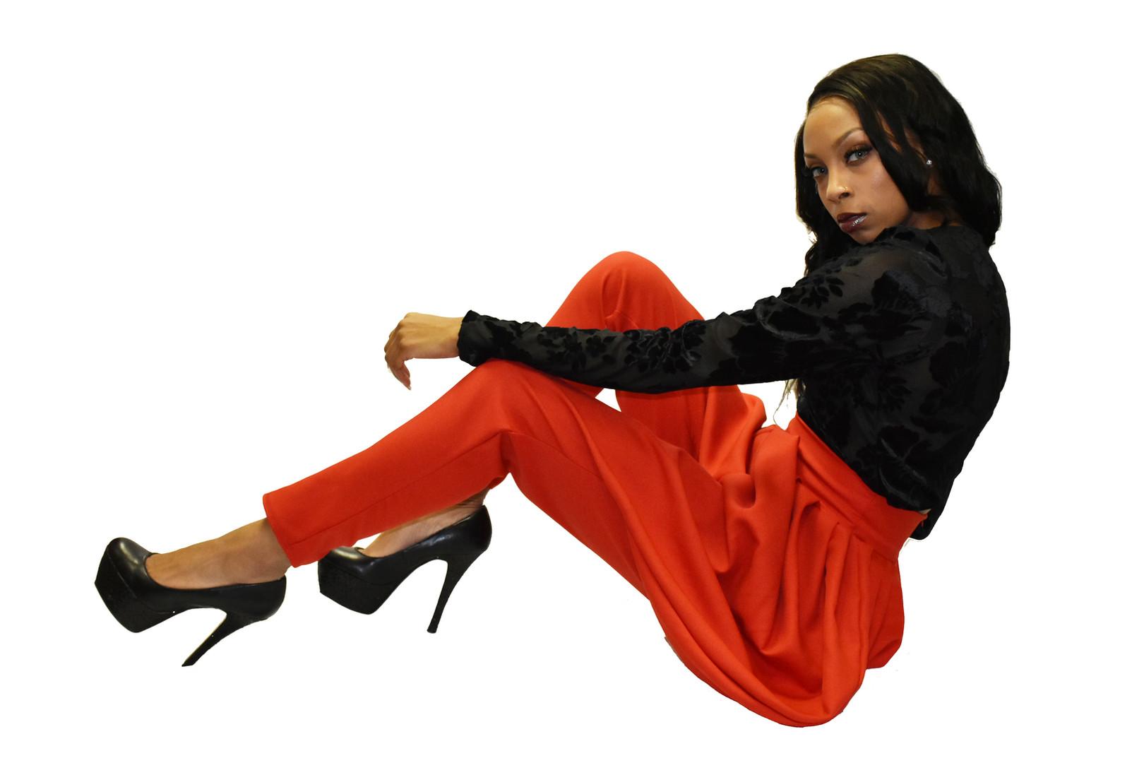 Burnout velvet blouse w/ red harem pants