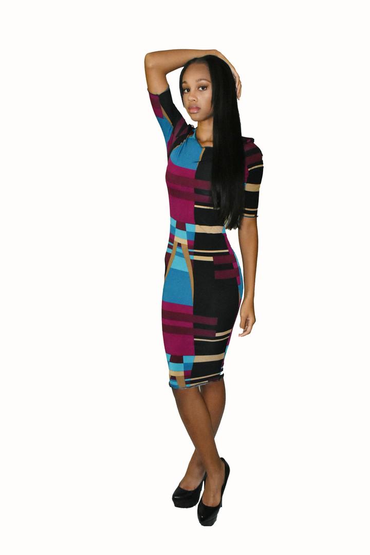 Geometric print bodycon dress