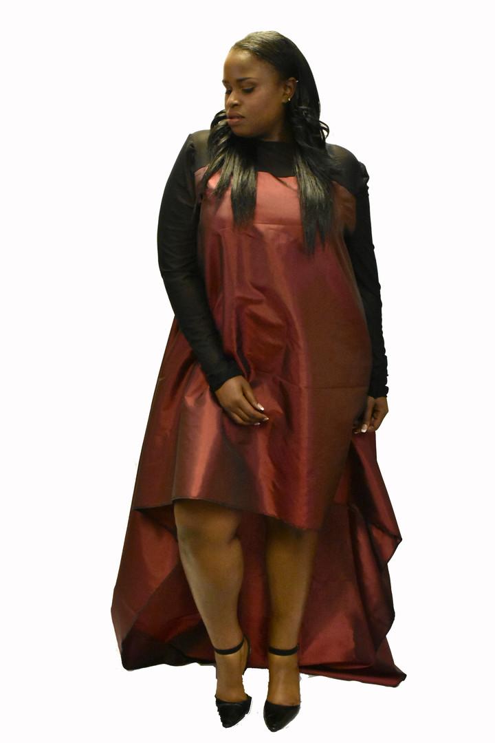 Taffeta hi/lo trapeze dress
