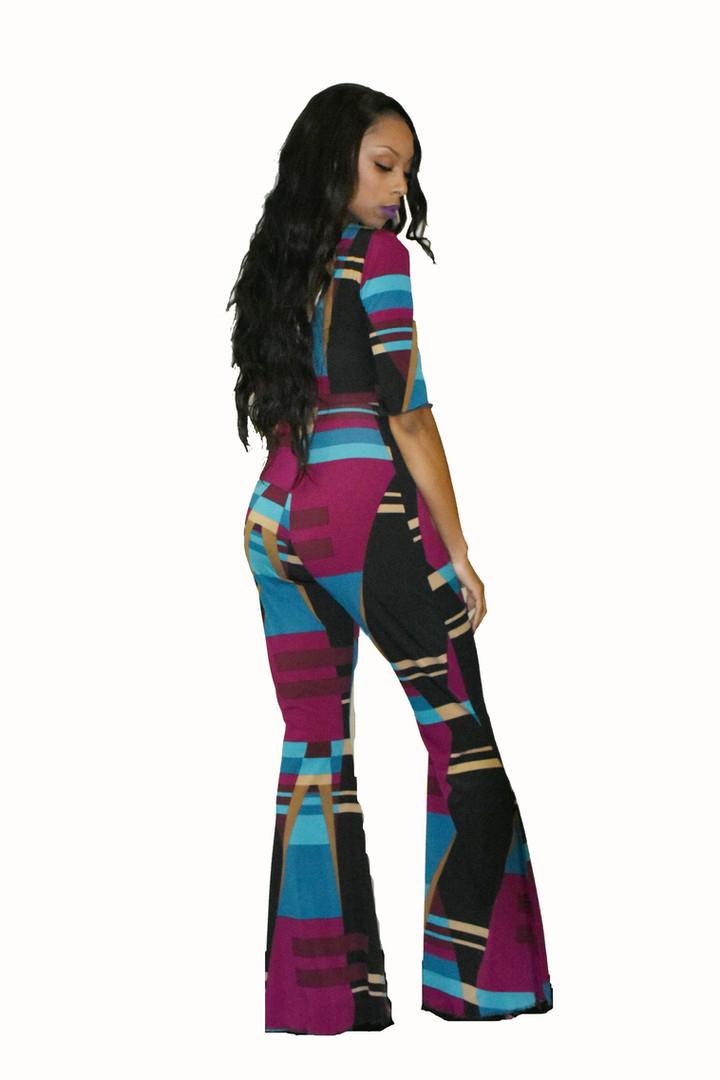 Geometric print bell bottom jumpsuit