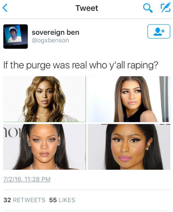 Twitter user prompts people to choose a Black female celebrity to rape.