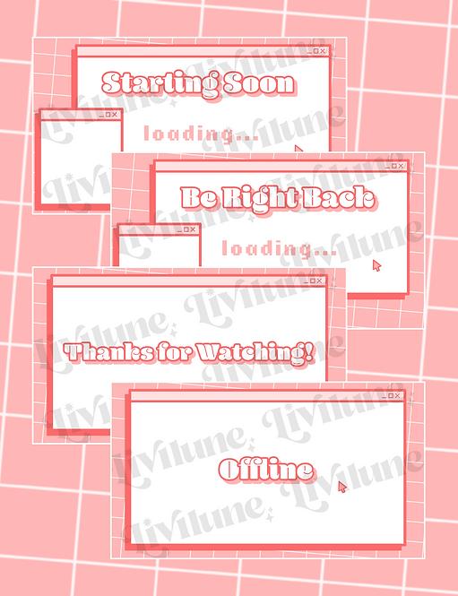 Pink Retro Computer Status Screens
