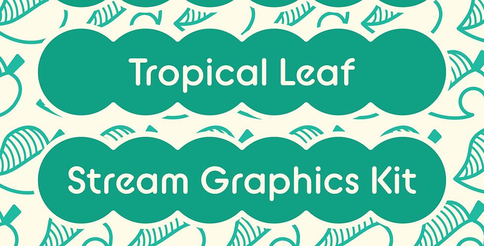 Animal Crossing Tropical Leaf Stream Graphics Kit