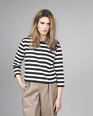 Model in Striped Shirt