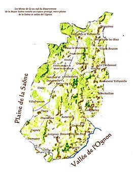 carte des Monts de Gy
