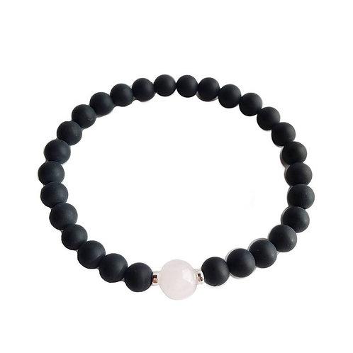 Black Onyx & Rose Quartz Bracelet