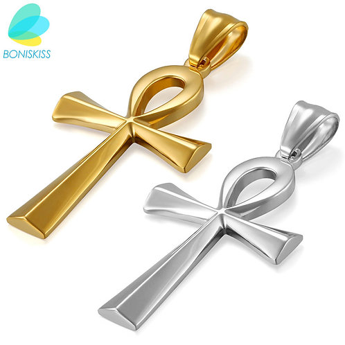 Egyptian Ankh Gold Cross Necklace for Women and Men Stainless Steel Pendants