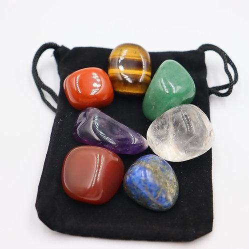 7pcs Set Natural Chakra Energy Stones with Bag