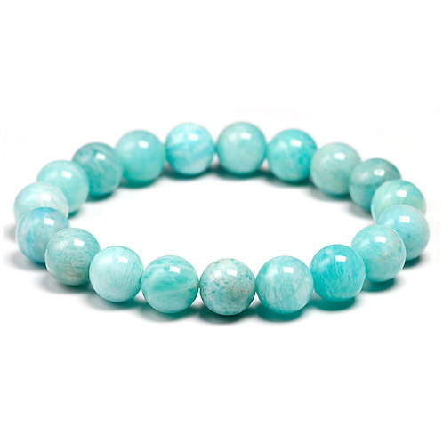 Natural Amazonite Stone Bead Bracelets Women Men