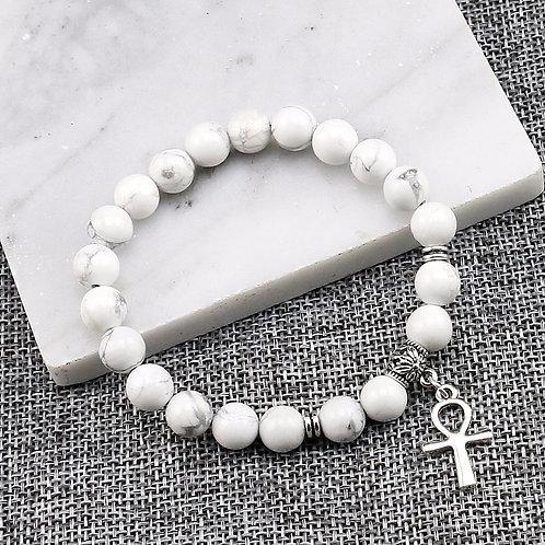 Ankh Bracelet Natural White Howlite Beads