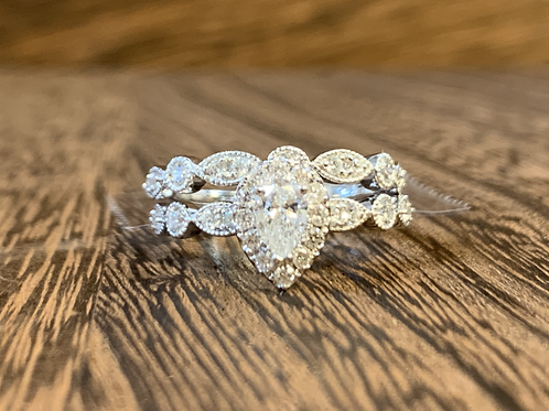 Pear Shape Halo Diamond Ring