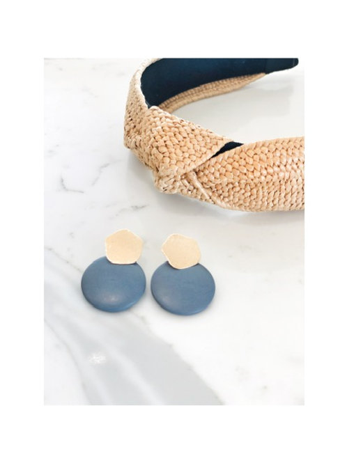 Round Grey Disc Earring