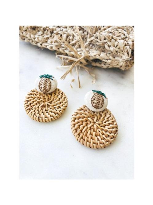 Pineapple Rattan Earring
