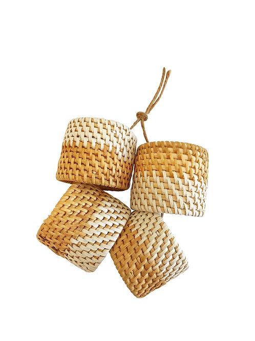 Set of 4 Handwoven Round Napkin Rings Whitewash
