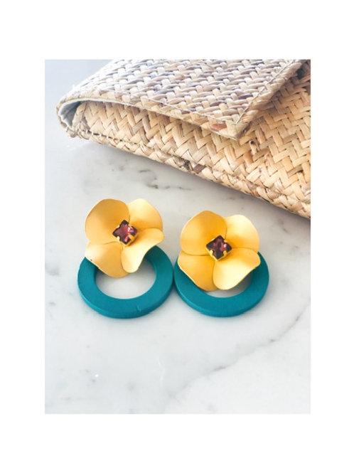Yellow Flower Hoop Earring