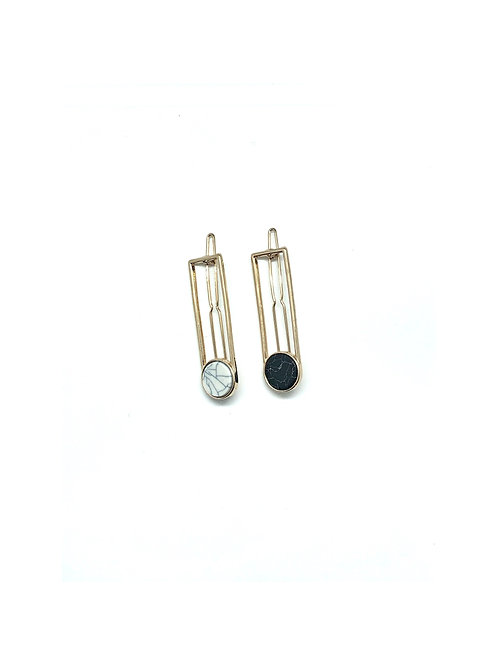 2 Pack Gold Marble Hair Clip