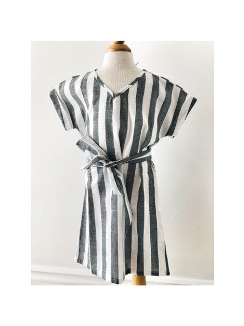 Grey Stripe Tie Belt Dress