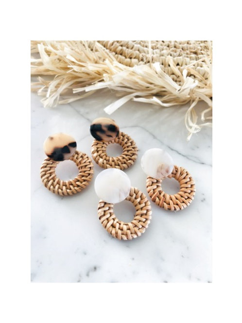 Button Rattan Earrings