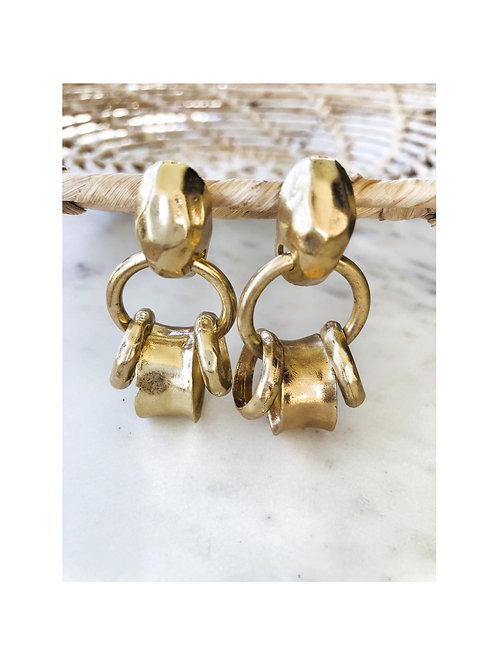 Brushed Gold Ring Earrings