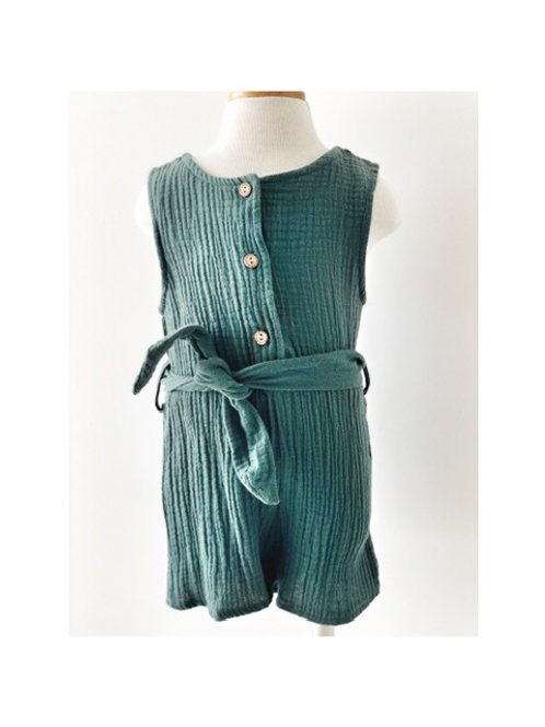 Toddler Green Button Tie Playsuit