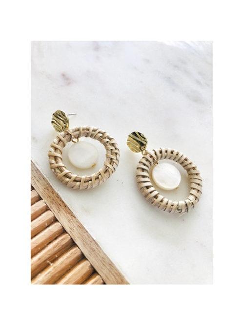 Pearl Drop Rattan Hoop Earrings