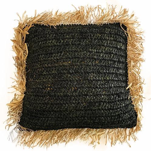 Natural/Black Raffia Fringe Cushion Cover
