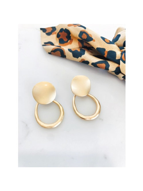 Brushed Gold Disc Earring