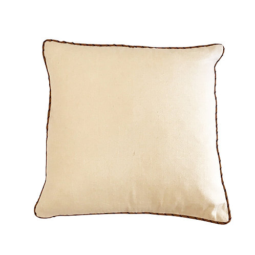 Cream Cushion Cover with Tan Edging