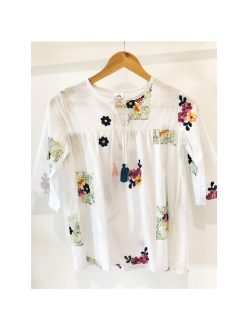 Flower Embroided Tunic Top
