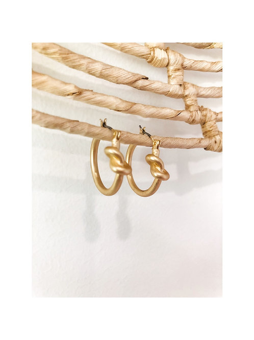 Brushed Gold Knot Hoop Earrings